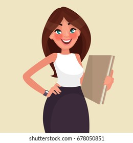 Beautiful business woman with a folder in her hands. Vector illustration in cartoon style