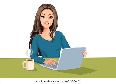 Beautiful Business women working on laptop vector illustration