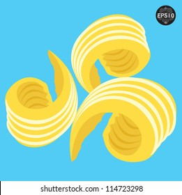 Beautiful Butter curls, Vector