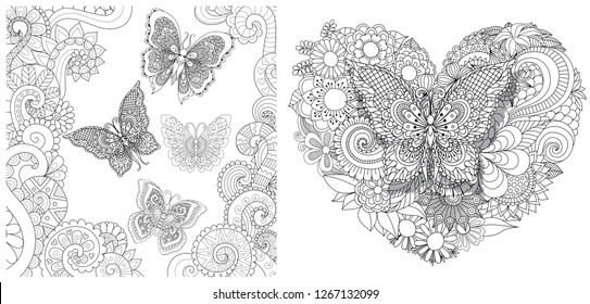 Beautiful butterflies flying in the floral jungle and on heated shape floral set design for adult coloring book pages. Vector illustration