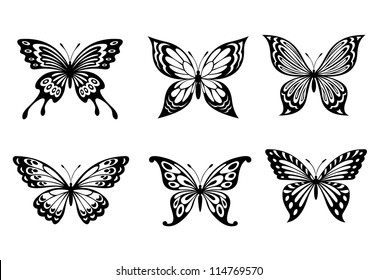 Beautiful butterflies in monochrome style for tattoo design, such a logo. Jpeg version also available in gallery