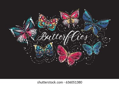 Beautiful butterflies t-shirt composition. Embroidery and rhinestones fashion crystal patch design with insects illustration. Isolated on black background.