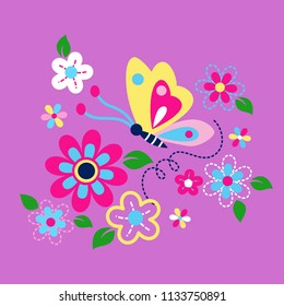 beautiful butterfly in a beautifully decorated vector flower illustration