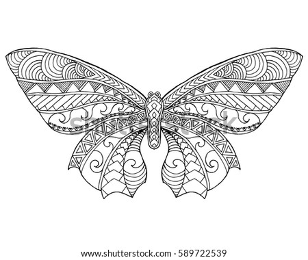 d0bc150ca Beautiful butterfly. Black white hand drawn doodle animal. Ethnic patterned  vector illustration. Sketch for coloring page, decoration, tattoo, poster,  print ...