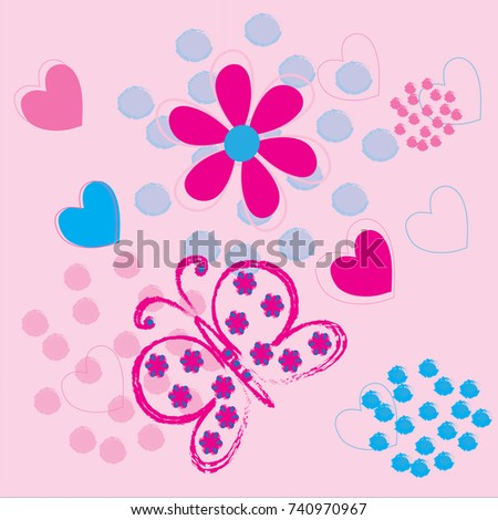 Beautiful Butterfly Blue Pink Flowers Hearts Stock Vector Royalty