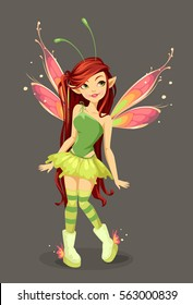 Beautiful butterfly Fairy standing vector illustration