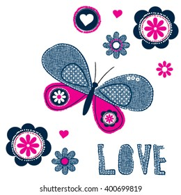 beautiful butterfly with flowers on white background, love card, T-shit design for kids vector illustration
