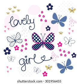 beautiful butterfly with flowers, T-shirt design vector illustration