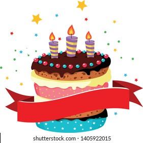 beautiful cake festive vector illustration