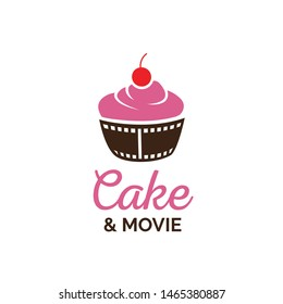 Beautiful cake with red cherry and reel film cup cinema cafe logo design