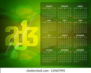 beautiful calendar design for 2013 in green color