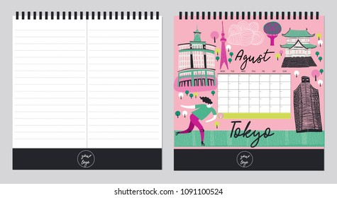 Beautiful Calendar Template Organizer and Schedule with place for Notes. Vector illustration. Print Design.