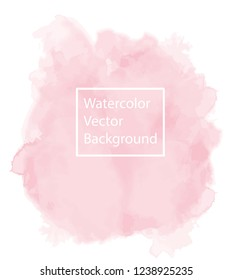 Beautiful and calm pastel pink watercolor vector background, isolated on White. Perfect for your designs and calming athmosphere. EPS 10