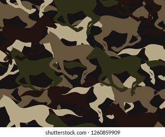 Beautiful camouflage horse silhouette seamless pattern. Abstract modern vector military backgound. Fabric textile print tamplate