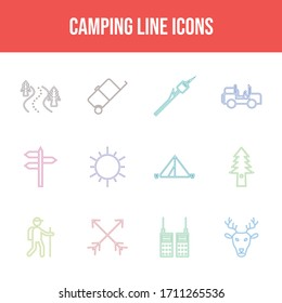 Beautiful Camping vector icon set