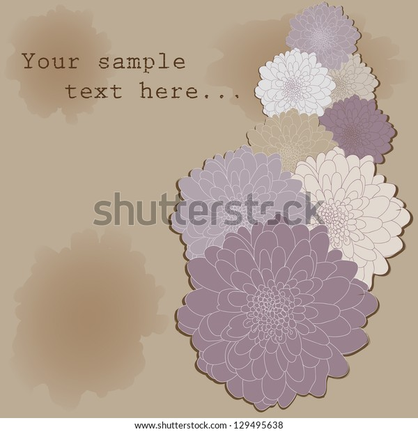 Beautiful card with chrysanthemum and place for your text. Can be used as an invitation for a wedding or as a background