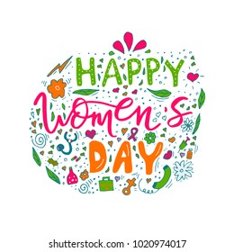Beautiful card design for happy women's day celebration. Postcard for woman doctor, mother, girl, lady with flowers and female accesories. Vector.