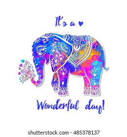 Beautiful card with elephant Frame of animal it's a wonderful day vector illustration design template for textile Hand drawn bright prints on T shirts and cups canvas of another object