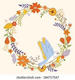 Beautiful card with floral wreath and bird