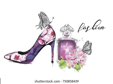 Beautiful card with high heel shoe, flowers and butterfly. Fashion illustration.