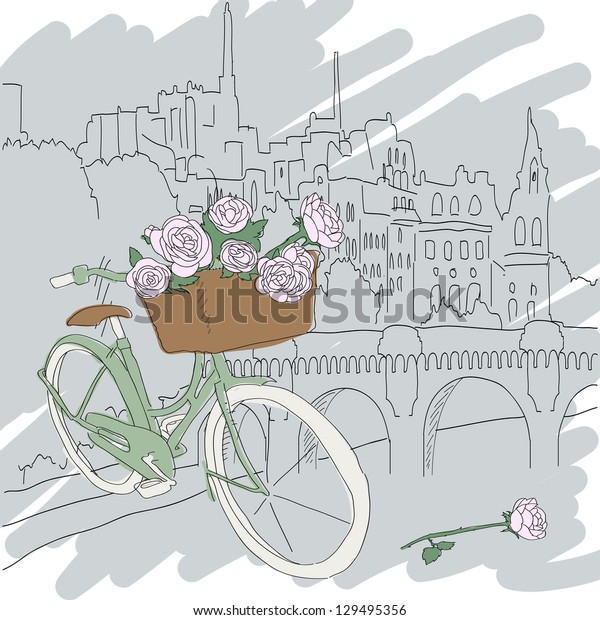 Beautiful card with pretty bicycle and pink roses on city background