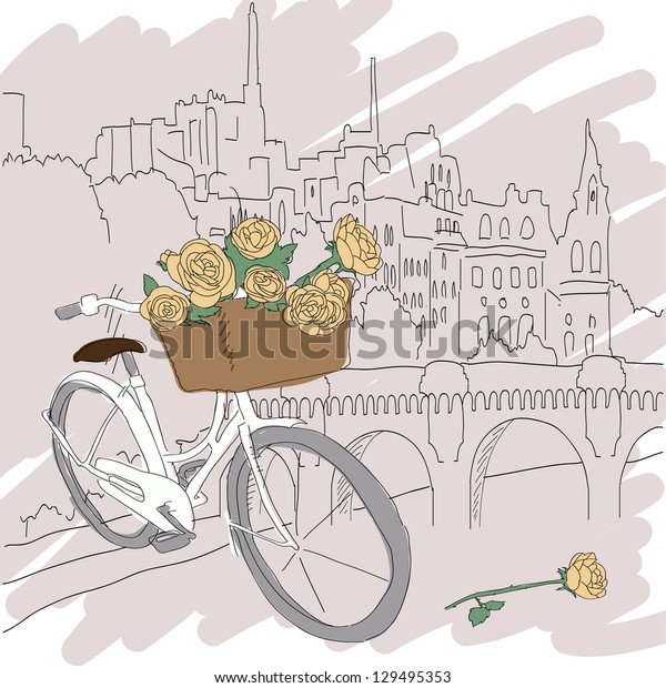 Beautiful card with pretty bicycle and yellow roses on city background