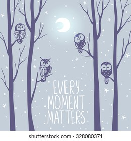 Beautiful card with silhouette trees at night and cute owls sit on branch tree. Vector illustration