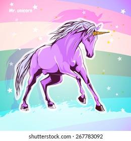 Beautiful card with a unicorn.