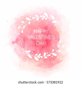 Beautiful card for Valentine's day with watercolor splash vector