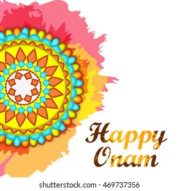 Beautiful card,banner or poster of a colorful rangoli or pookalam for Onam celebration.