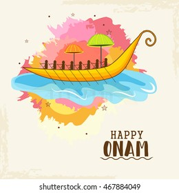 Beautiful card,banner or poster of a colourful Kathakali face with heavy crown decorated with pearls and stone on grungy colourful background for Onam celebration.