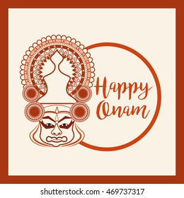 Beautiful card,banner or poster of a Katha Kali face with heavy crown decorated on grungy background for Onam celebration.