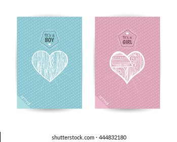 Beautiful cards for newborns. It's a boy . It's a girl. Invitation to the feast. Congratulations to the birth a baby. Pink and blue cards with beautiful hearts.