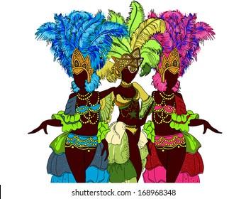 Beautiful carnival dancer. Vector illustration