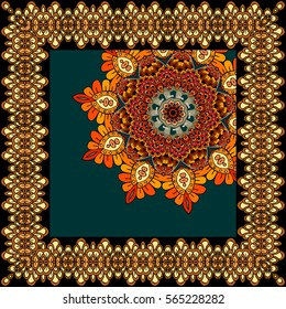 Beautiful carpet or tablecloth with flower mandala and ornamental frame in indian style. Unusual shawl, scarf, square rug.