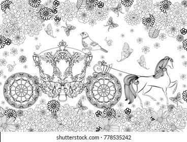 beautiful carriage surrounded by flowers for your coloring book
