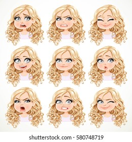 Beautiful cartoon blonde girl with magnificent curly hair portrait of different emotional states set 3 isolated on a white background