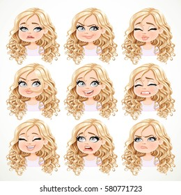 Beautiful cartoon blonde girl with magnificent curly hair portrait of different emotional states set 2 isolated on a white background