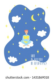 Beautiful cartoon boy character sitting on the cloud with pillow in the night sky. Life is better in pajamas. Pajama party poster. Invitation for slumber party. Vector illustration in modern style.