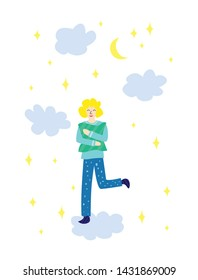 Beautiful cartoon boy character stands on the cloud with pillow in the night sky. Life is better in pajamas. Pajama party poster. Invitation for slumber party. Vector illustration in modern style.