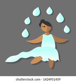 Beautiful cartoon dark skinned girl with black hair and a gradient white and blue dress, symbolising the element of water, with drops over her and shadow, gray background, vector illustration