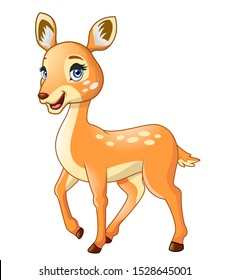 A beautiful cartoon deer is smiling isolated on white background.