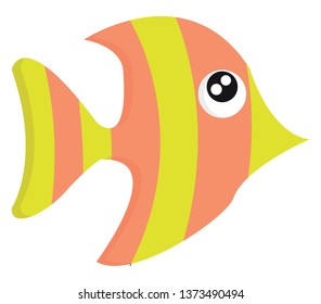 Beautiful cartoon fish in yellow and pink colors with bulging eyes and pointed nostril vector color drawing or illustration