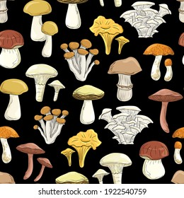 Beautiful cartoon mushrooms. Seamless pattern. Print for backgrounds, printing on fabric, paper, wallpaper, packaging.