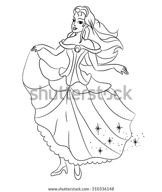 Beautiful Cartoon Princess Coloring Page Kids Stock Vector (Royalty Free)  310336148