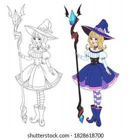 Beautiful cartoon witch holding big staff. Blonde hair, blue dress and big hat. Hand drawn vector illustration for coloring book. Isolated on white