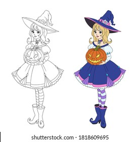 Beautiful cartoon witch holding Halloween pumpkin. Blonde hair, blue dress and big hat. Hand drawn vector illustration for coloring book. Isolated on white