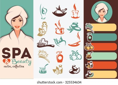 beautiful cartoon woman and natural spa icons, emblems and backgrounds collection