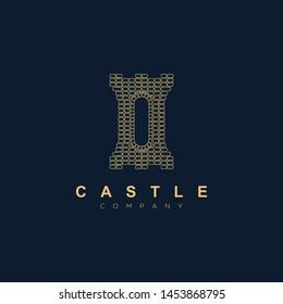Beautiful castle logo design template.Kingdom icon vector