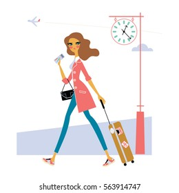 Beautiful casual style woman wearing suitcase and ticket and hurrying up to the airport. Trip girl Vector illustration.
